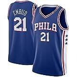 OLJB Joel Embiid # 21 Camisetas de baloncesto Philadelphia 76ers, 21 Nueva Temporada Unisex Bordado Jersey de Baloncesto Transpirable Sin Mangas De Secado Rápido Deportivo Chaleco Azul-XL