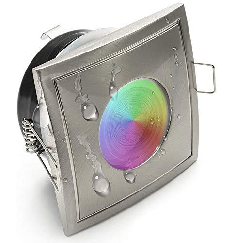 Quadratischer RGB-LED-Strahler für Farbtherapie im Badezimmer, in der Dusche, Sauna und in Feuchträumen, Schutzklasse IP65