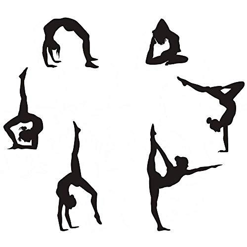 "Gymnastik Wandaufkleber Silhouetten Sport Kunst Mädchen Vinyl Aufkleber Wandaufkleber Passt Kinder Zimmerdekoration Startseite-Wand-Dekor 6er Set (7.87"" H X 23.62"" W)"