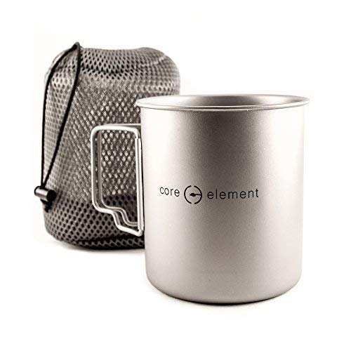 Core Element Dual Purpose Camping Mug or Pot with Lid - 100% Titanium 750 ml / 25 oz Suitable for Open Fire Direct Flame (3.75 L X 3.75 W X 4.5 H Inches) - Folding Handles - Space Saver - Easy Clean