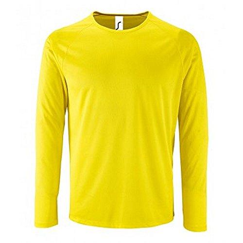 SOLS Camiseta de Manga Larga Modelo Performance Para Hombre (XL/Amarillo)