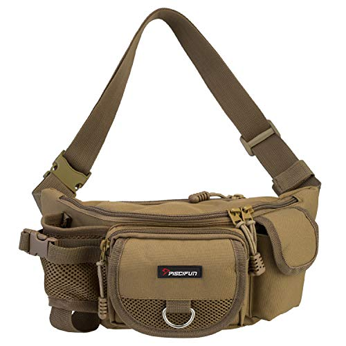 Piscifun Fishing Bag Portable Outdoor Fishing Tackle Bags Multiple Waist Bag Multi Functional Fanny Pack Khaki