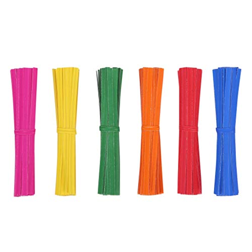 Quotidian 1200pcs Kraft Paper Twist Ties 4 inch for Treat Bags Kitchen Valentines Gift Electronics Cords, Bendable Sturdy (Red Orange Green Yellow Blue Rose)