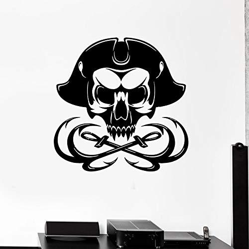 yaonuli Knochen Aufkleber Seemann Kapitän Skelett Marine Thema Dekoration Vinyl Aufkleber Wandbild 50X67cm