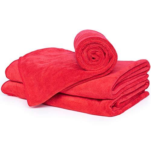 cosey - Serviette en Microfibre Douce, 3 pièces Taille L 60 x 120 cm, Rouge
