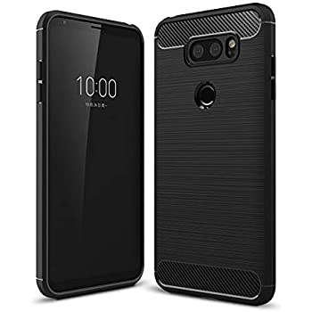 Black MaiJin Case for LG V30 // V30 Plus Soft Silicon Luxury Brushed with Texture Carbon Fiber Design Protection Cover 6 inch