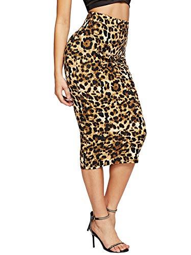 MakeMeChic Women's Solid Basic Below Knee Stretchy Pencil Skirt Multi S