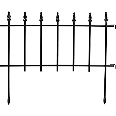 Sunnydaze 20-Panel Roman Border Fence Set - 36-Foot Overall Length - Decorative Metal Garden and Landscape Fencing - 22 Inches Wide x 18 Inches Tall Per Piece