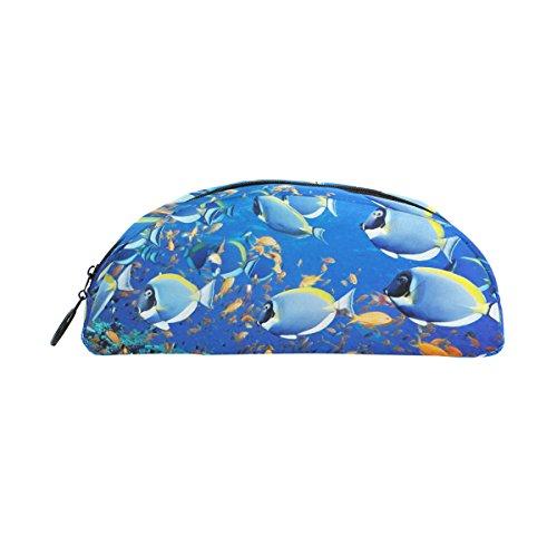 COOSUN - Estuche para lápices de peces semicirculares, bolsa de papelería, estuche para maquillaje, bolsa de cosméticos para mujeres y niñas