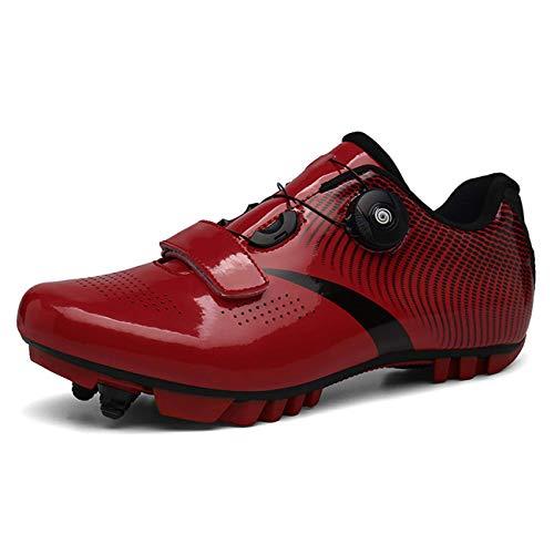 ququer Calzado de Ciclismo para Hombre, Zapatillas de Bicicleta de montaña con Suela de Carbono y Correa de Triple Velcro para una sujeción óptima