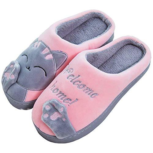 JIANKE Zapatillas de Casa Mujer Hombre Gato Pantuflas Suave CáLido Zapatos Invierno Rosa...