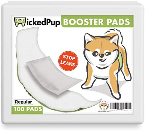 WICKEDPUP Dog Diaper Liners Booster Pads for Male and Female Dogs 100ct Disposable Doggie Diaper product image