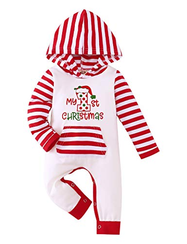 TUEMOS Christmas Romper Newborn Baby Boy Girl Clothes My First Christmas Print Stripe Hoodie Bodysuits Outfit
