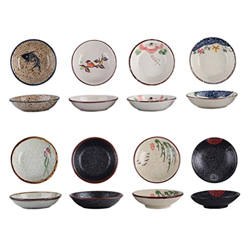 HEMOTON 8 Piezas de Cerámica Platos de Salsa de Acompañamiento Mini Plato de Condimento de Porcelana Sushi Tazón de Inmersión de Soja Platos para Servir Plato para Salsa de Tomate Soja