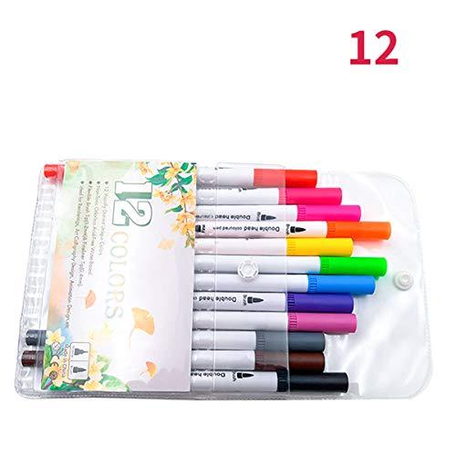 Turbobm 12/24/36/48 Paquete de marcadores de Pincel de Punta Fina de Color Punta Doble Pincel de Color Pluma Fineliner Marcadores Set Suministros de Arte, Herramientas de Pintura