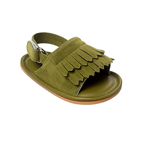 nicatage bebé verano antideslizante Sneaker Bambin Mignon Premier marcheur zapato Premier Pas marca flequillo sandalias verde oscuro Talla:13(age 12~18Mo.)