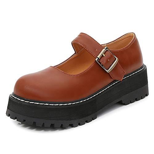 CELNEPHO Mary Jane - Zapatos de plataforma para mujer con correa en T para uniforme Lolita, zapatos planos para mujer, marr�n (A-Marrón), 36 EU