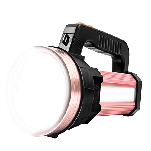 Super Bright LED Handheld Spotlight Flashlight Rechargeable 9600mAh 6000 Lumens Long Lasting Spot Light CREE Waterproof Tactical Torch, 6 Light Modes Side Floodlight, USB Output PowerBank (Rose Gold)