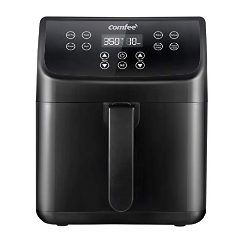 COMFEE' 5.8Qt Digital Air Fryer, Toaster Oven & Oilless Cooker, 1700W with 8 Preset Functions, LED Touchscreen, Shake Reminder, Non-stick Detachable Basket, BPA & PFOA Free (110 Recipes)
