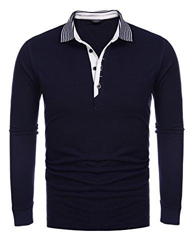 COOFANDY Men's Short Sleeve Casual Striped Collar Classic Fit Polo Shirts (Medium, Navy Blue(Long Sleeve))