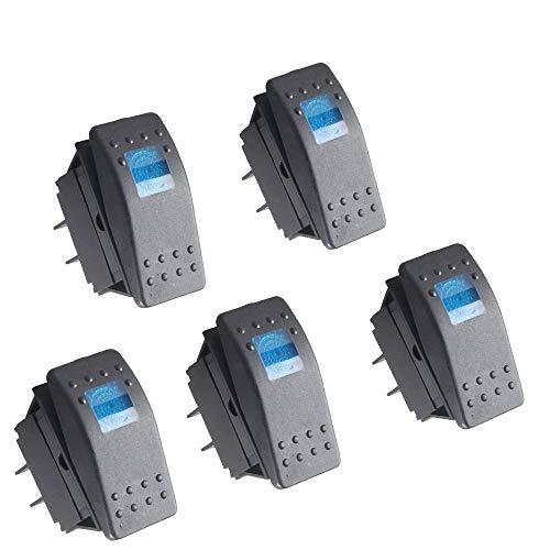 RKURCK - Interruptor basculante automático, interruptor de encendido/apagado LED de 4 pines, ideal para coche, barco, o barra de luz LED de off-road y ATV