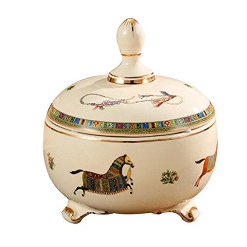 Assiette de fruit Boîtes de rangement en céramique créative de style européen avec couvercle pot pot de bonbons jar pot de thé A+