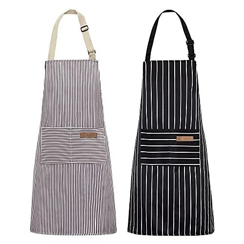 NLUS 2 Pack Kitchen Cooking Aprons, Adjustable Bib Soft Chef Apron with 2 Pockets for Men Women (Black/Brown Stripes)