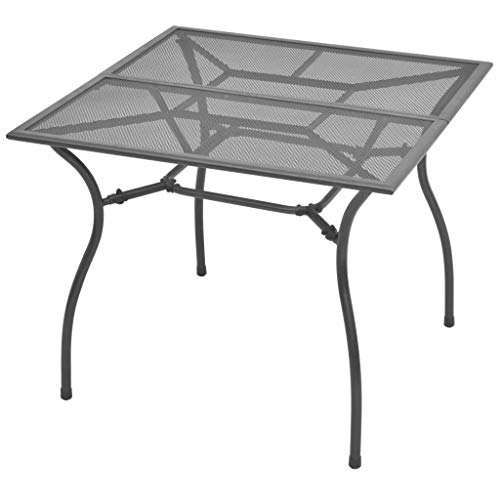 vidaXL Garten Esstisch Streckmetall Gartentisch Gartenmöbel Tisch Balkontisch Terrassentisch Esszimmertisch Innen Außen 90x90x72cm