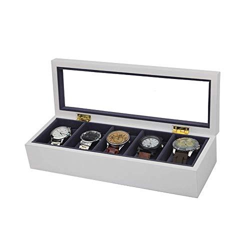 Lkaibin Caja de reloj reloj caja de almacenamiento Blanca 5 exhibición del reloj de la joyería caja de almacenamiento de la colección del organizador del caso de madera reloj Organizador (Color: Blanc