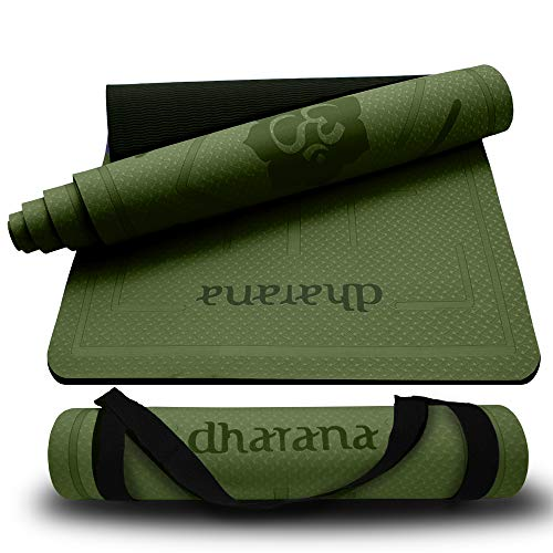 Dharana YogaMatte rutschfest -Yoga Matte Professionelle TPE - Dicke Gymnastik Matte Pilates Fitness Sport Ökologisches Material - Zubehör Makramee Mattenband zum Transport