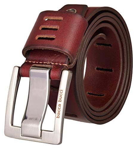 Bacca Bucci ® Men's Full Grain Leather Work Belt with Double Prong Buckle for Jeans and Heavy Duty Construction, Red, Maroon