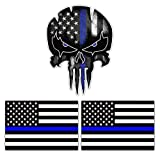 Thin Blue Line Decal US Flag Decal Stickers& Punisher...