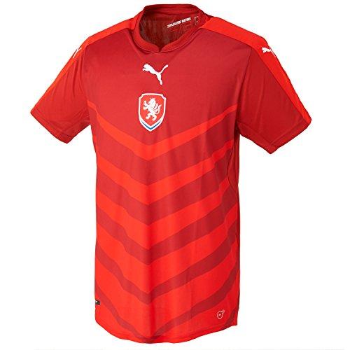 PUMA Czech Republic Home Replica Camiseta de fútbol para Hombre de Manga Corta, Chili Pepper/Red, M, 748737 01