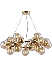 Design hanglamp, kroonluchter 25 lampen, moderne stijl, loft, frame van metaal, kleur goud, lampenkap is gemaakt van helder glas, 25 lampen, met uitzondering van G9 28W 220-240V