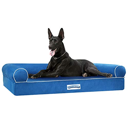 TOYSBOOM Orthopedic Dog Bed Memory Foam -Dog Couch Bed with Ergonomic Pillow Bolster Mattress, Waterproof DogChaise Lounge Bed with RemovableWashable Cover, Pet Sofa for XL Dogs and Cats