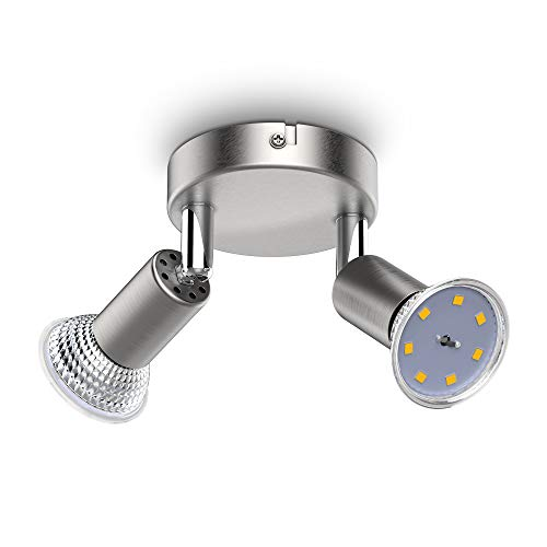B.K.Licht I schwenkbare LED Deckenleuchte I inkl. 2x 3W GU10 Leuchtmittel I 2x 250lm I warmweiße Lichtfarbe I LED Deckenlampe I Deckenspot I 11cm rund