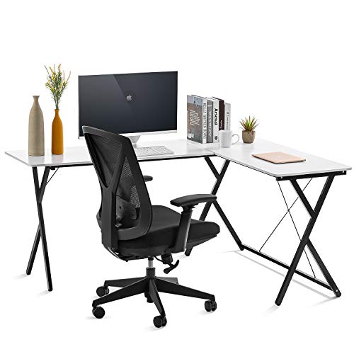 Computer Desk L-Shaped Desk, PC Monitors Home Office Desk, Corner Table with Simple Modern Design for Easy Assembling, Shiny Surface Scratch Resistant Tabletop, Modern White