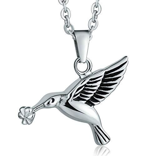 Collares para Cenizas Cremacion Collar Acero Hombre Un Pájaro Sostiene Una Flor de Plata Collar Cenizas Plata