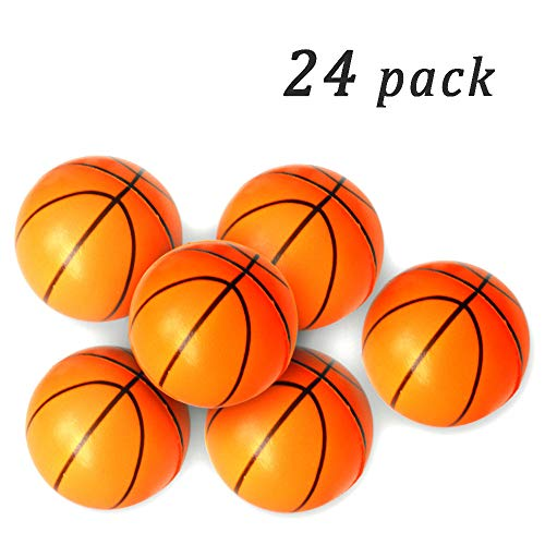 Wang-Data Basketball Stress Ball Mini Foam Squeeze Sports Ball Kids Toy 24 Pack - Pressure Relieving Health Balls for Kids School Classroom Party Favors (25 Inches)