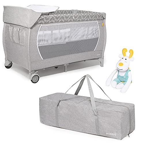 skiddoü Lunar - Cuna de viaje con juguetes y cambiador, cama plegable ligera, compacta, altura ajustable, cómoda cama de viaje, color gris claro