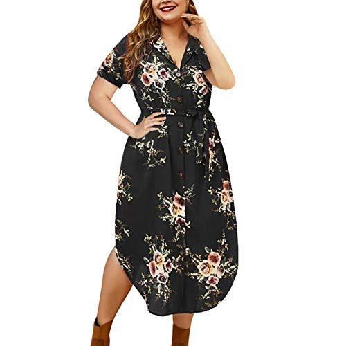 Lalaluka Vestido de verano para mujer, largo hasta la rodilla, elegante, cuello en V, estampado de flores, vestido de playa, vestido maxi para tiempo libre, túnica, vestido de falda Negro M-36/38/40