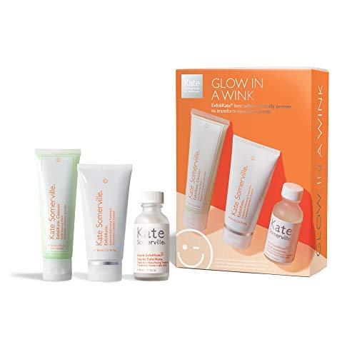 Kate Somerville Glow In A Wink Kit | 3-Piece ExfoliKate Skincare Regimen | Visibly Smooths Skin, Improves Pores & Evens Skin Tone