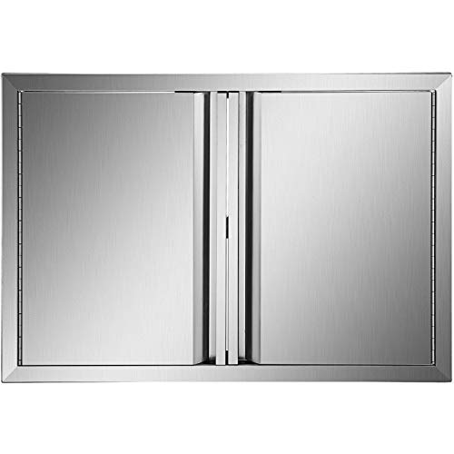 Mophorn BBQ Access Door 28 x 19 Inch, Double BBQ Door Stainless Steel with Recessed Handle, Outdoor Kitchen Doors for BBQ Island, Grill Station, Outside Cabinet