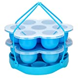 PRAMOO Silicone Egg Bites Mold and Silicone Egg Steamer Rack Trivet with Sling, Compatible with Instant Pot, 3 pcs/set for 5, 6 & 8qt Pressure Cooker Accessories