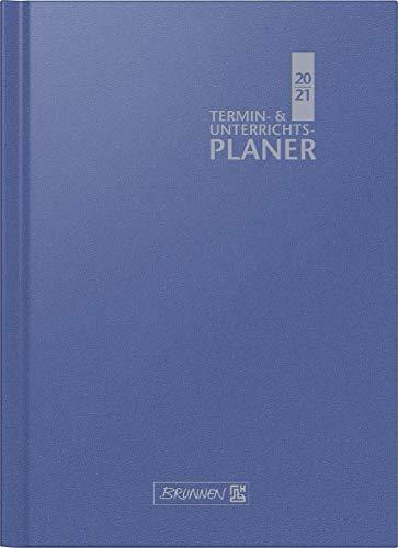 BRUNNEN 1075760301 Wochenkalender/Lehrerkalender, Termin- & Unterrichtsplaner 2020/2021, 2 Seiten = 1 Woche , Überformat A4: 23 x 29,7 cm , Baladek-Einband , blau