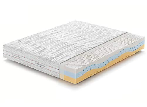 "Marcapiuma - Euro King Memory Mattress 5 ft 4"" 160x200 cm depth 23 cm - ONDA MED - Medium/Soft H2 Firmness - 11 zones MEDICAL DEVICE zipped Merycor SILVER Thread Breathable Cover - 100% Made in Italy"