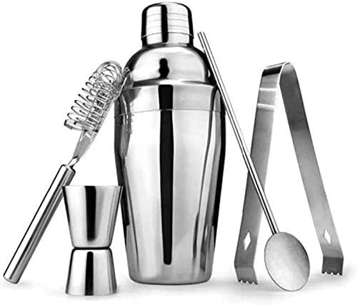 FDGSD Stainless Steel Cocktail Shaker Set,5 Piece Bartender Kit with Martini Shaker Strainer Jigger Shot Glass Stirring Spoon - Bartending Supplies Bar Tools-700ml