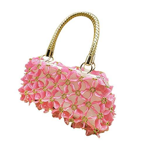 F Fityle DIY Damentasche Tasche Nähset Kreativset Nähen Bastelset Handtasche, iklv. Flache Acrylperlen, Futterbeutel, Nadel und Taschengriff - Rosa