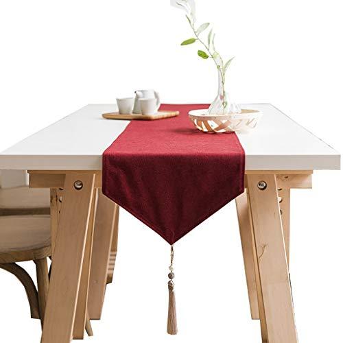 Table two Runner da Tavolo-Cotone e Lino Tinta Unita Tabella per Tavolo scarpiera tavolino Arredamento Interno 2 Colori 6 Dimensioni, in Fibra Naturale, Rosso, 30×160cm