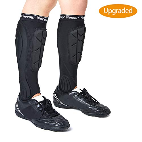 Nocour Soccer Shin Guards for for Kids Youth, Protective Soccer Gear Equipment with Lower Leg and Ankle Guards Pads for Boys Girls Teenagers - Black(M)
